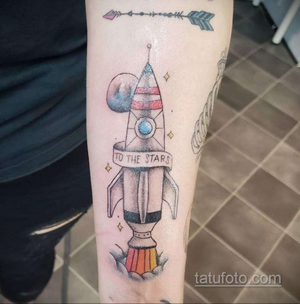 Фото татуировки с ракетой 08.07.2020 №043 -rocket tattoo- tatufoto.com