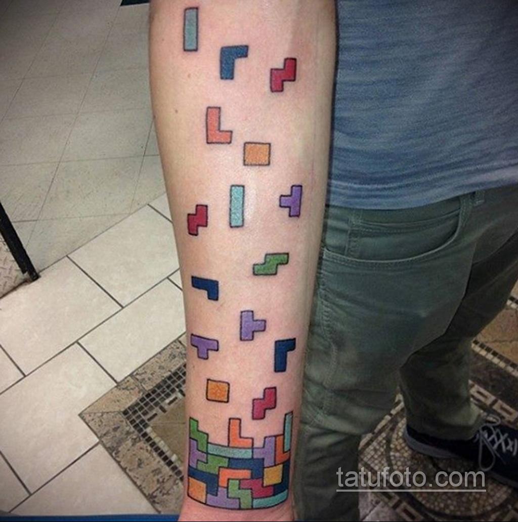 Фото татуировки с тетрисом 18.07.2020 №002 -tetris tattoo- tatufoto.com