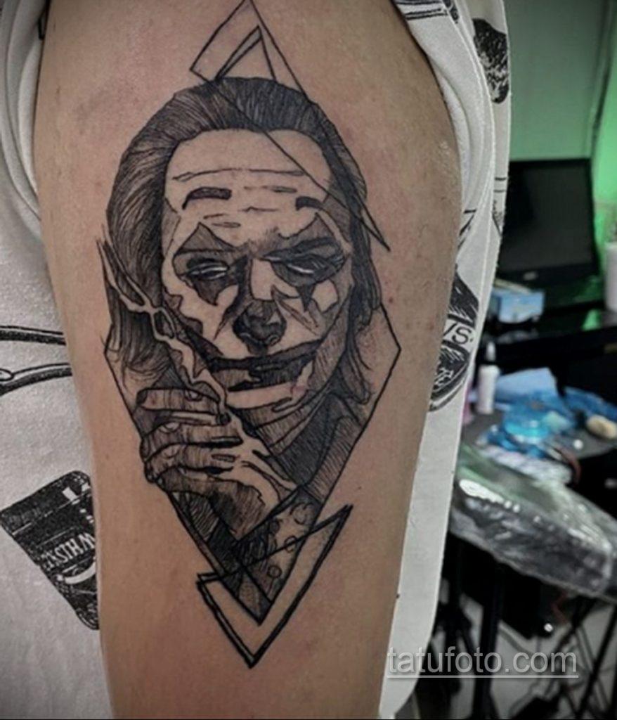 Фото тату с Джокером 16.08.2020 №028 -Joker tattoo- tatufoto.com