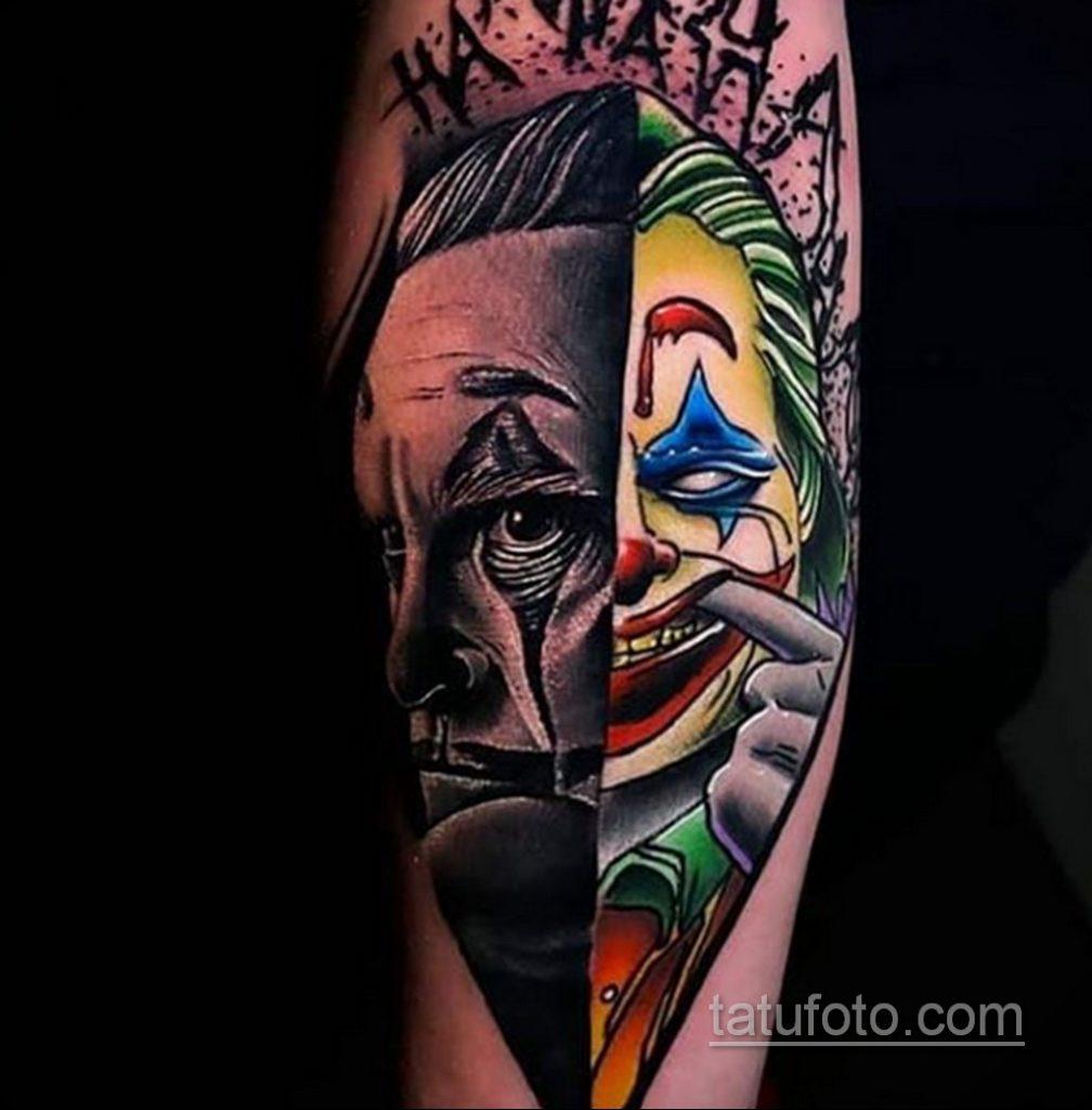Фото тату с Джокером 16.08.2020 №047 -Joker tattoo- tatufoto.com