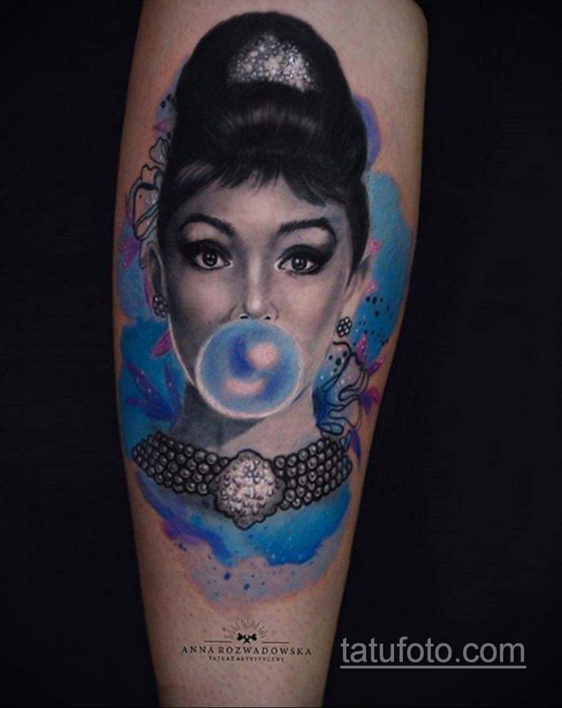 Фото тату с Одри Хепберн 10.08.2020 №014 -Audrey Hepburn tattoo- tatufoto.com