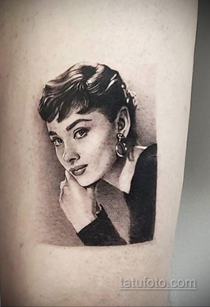 Фото тату с Одри Хепберн 10.08.2020 №022 -Audrey Hepburn tattoo- tatufoto.com