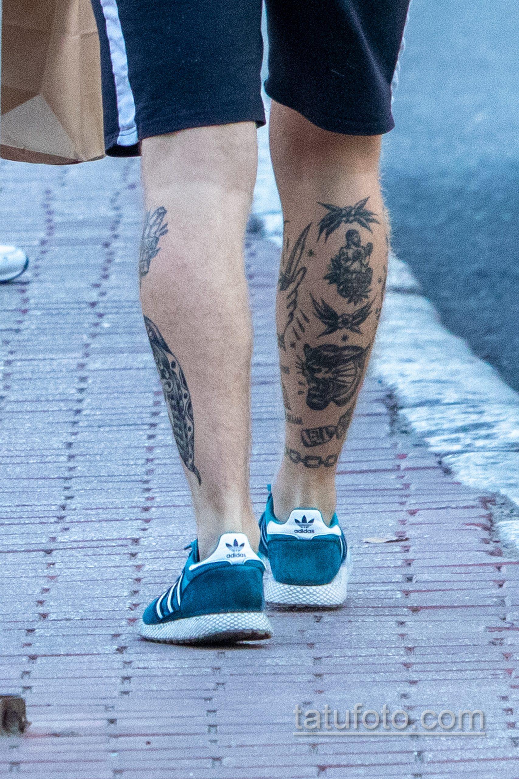 Олдскул тату на ноге парня с тигром – боксером и цепями - Уличная татуировка 14.09.2020 – tatufoto.com 6