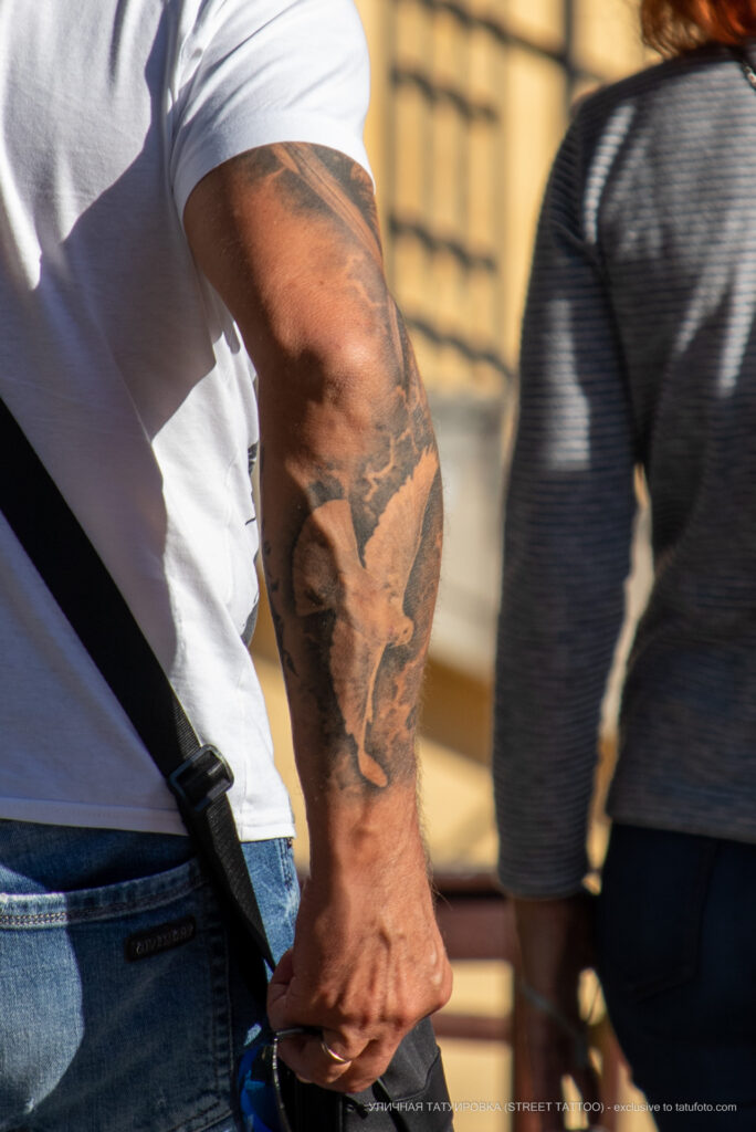 Тату белый голубь на руке мужчины мужчины – Уличная татуировка (street tattoo)-29.09.2020-tatufoto.com 1