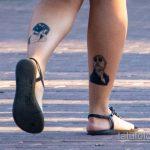 Тату из фильма Лион Киллер – девочка и мужчина на ноге у девушки - Уличная татуировка 14.09.2020 – tatufoto.com 4