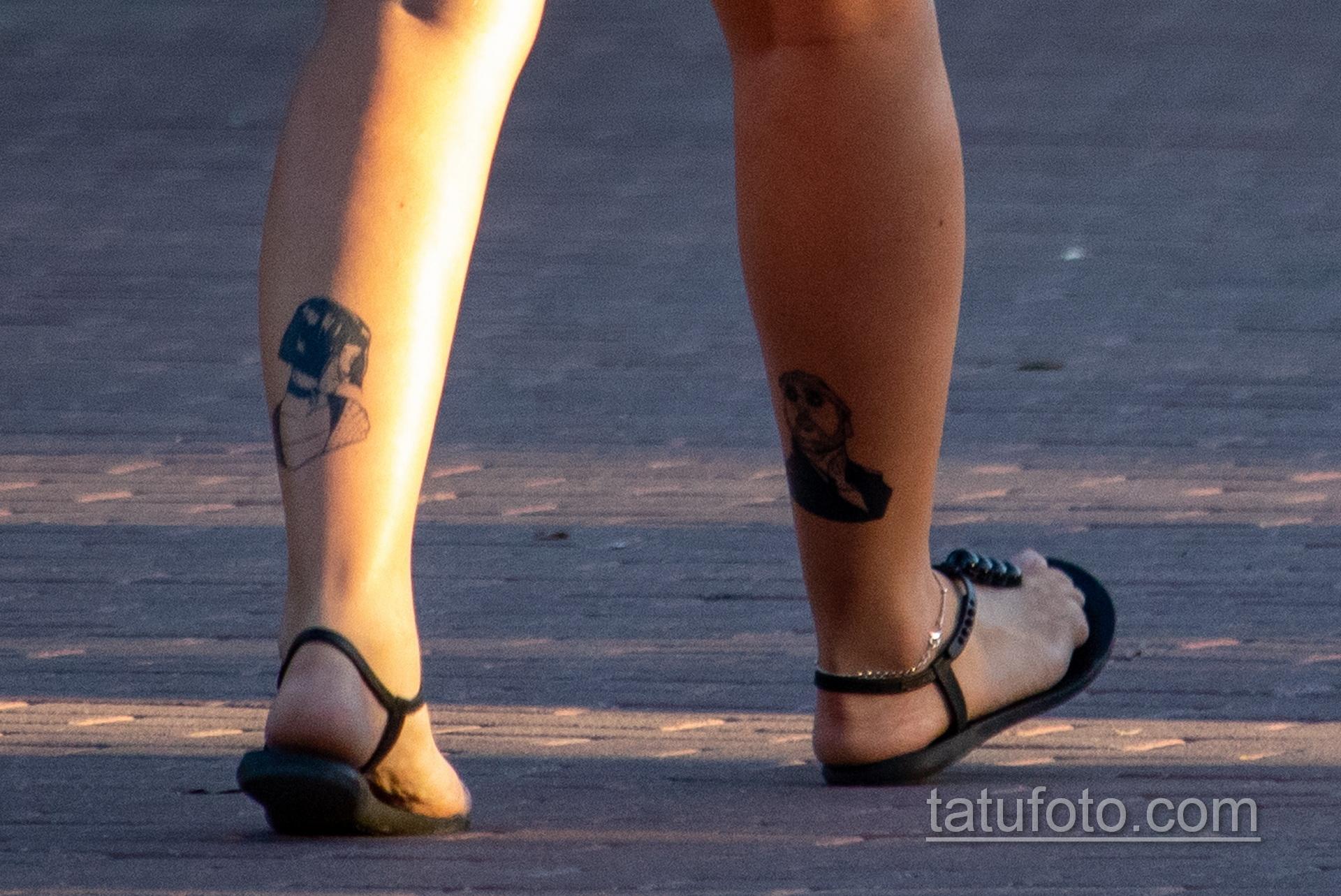 Тату из фильма Лион Киллер – девочка и мужчина на ноге у девушки - Уличная татуировка 14.09.2020 – tatufoto.com 5