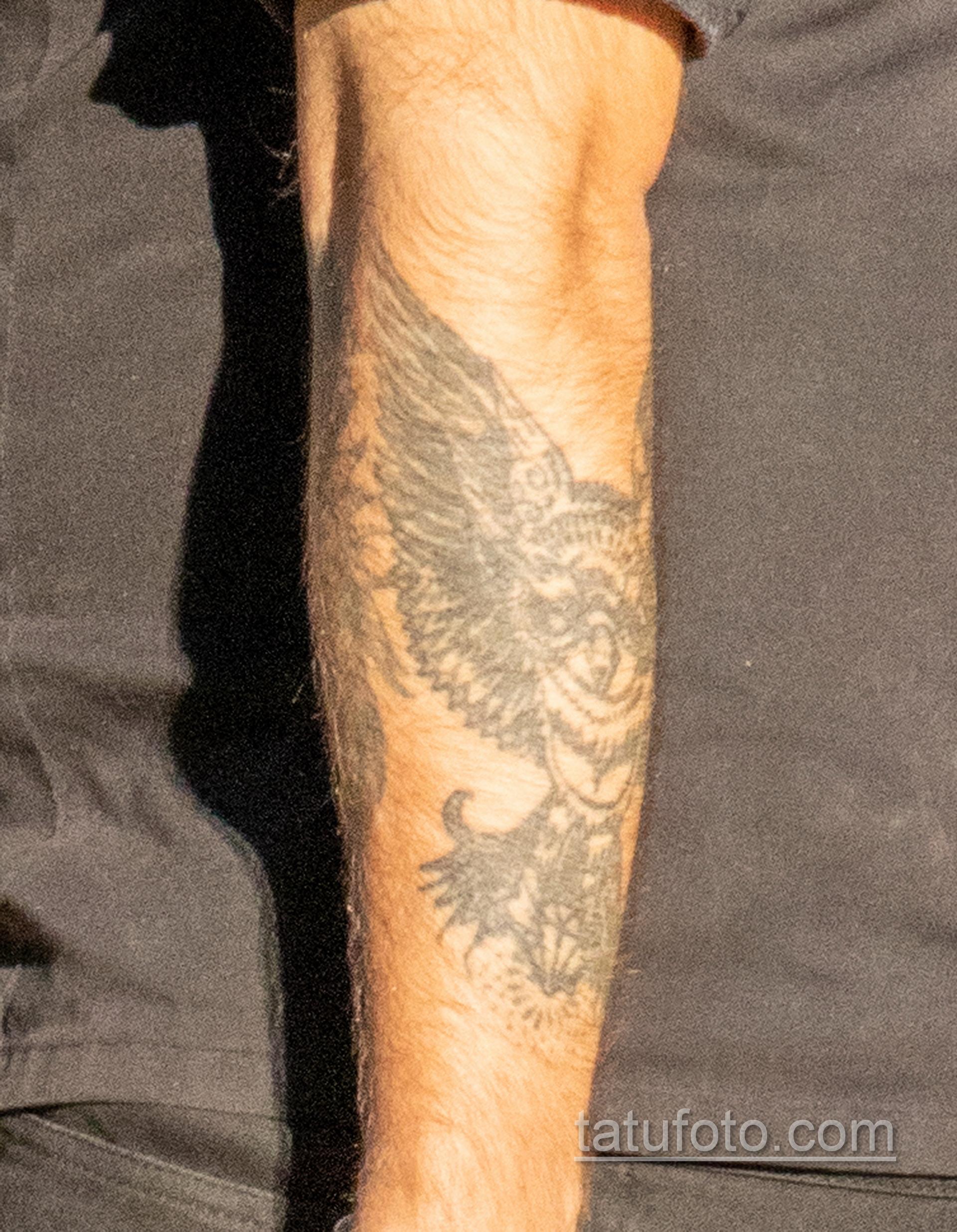 Тату лев и ворон на руке у парня – Уличная татуировка 14.09.2020 – tatufoto.com 22