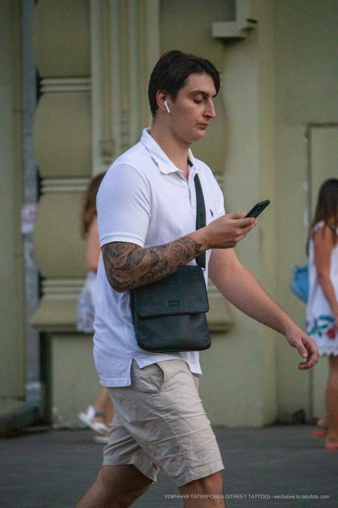 Тату рукав у парня с белым голубем часами и цветами роз --Уличная тату-street tattoo-21.09.2020-tatufoto.com 6