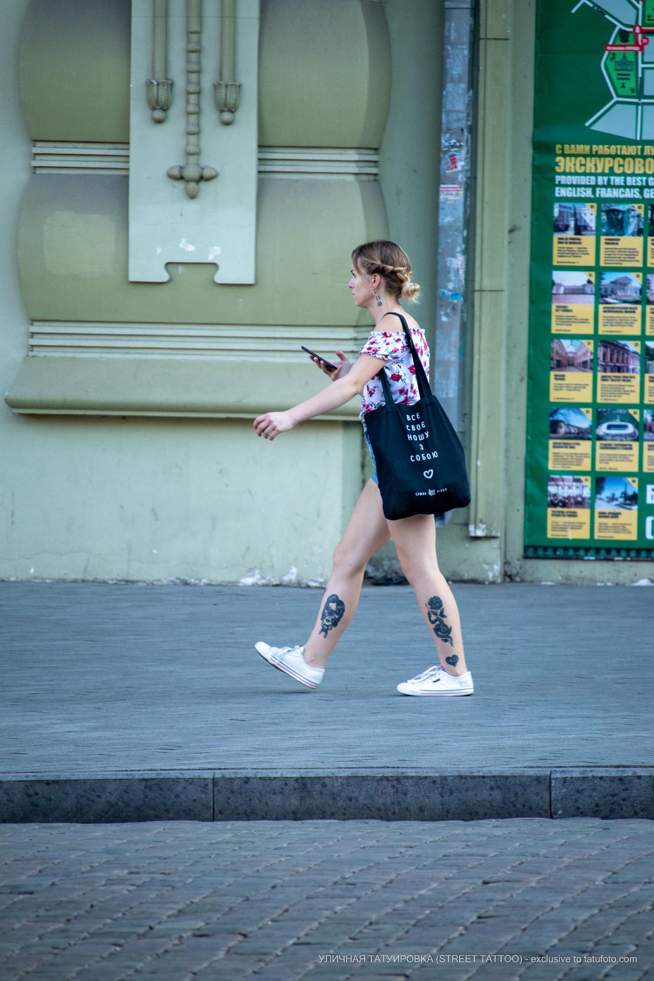 Тату сердце с цветком змеей и портретом девушки на ноге– 17.09.2020 – tatufoto.com 12