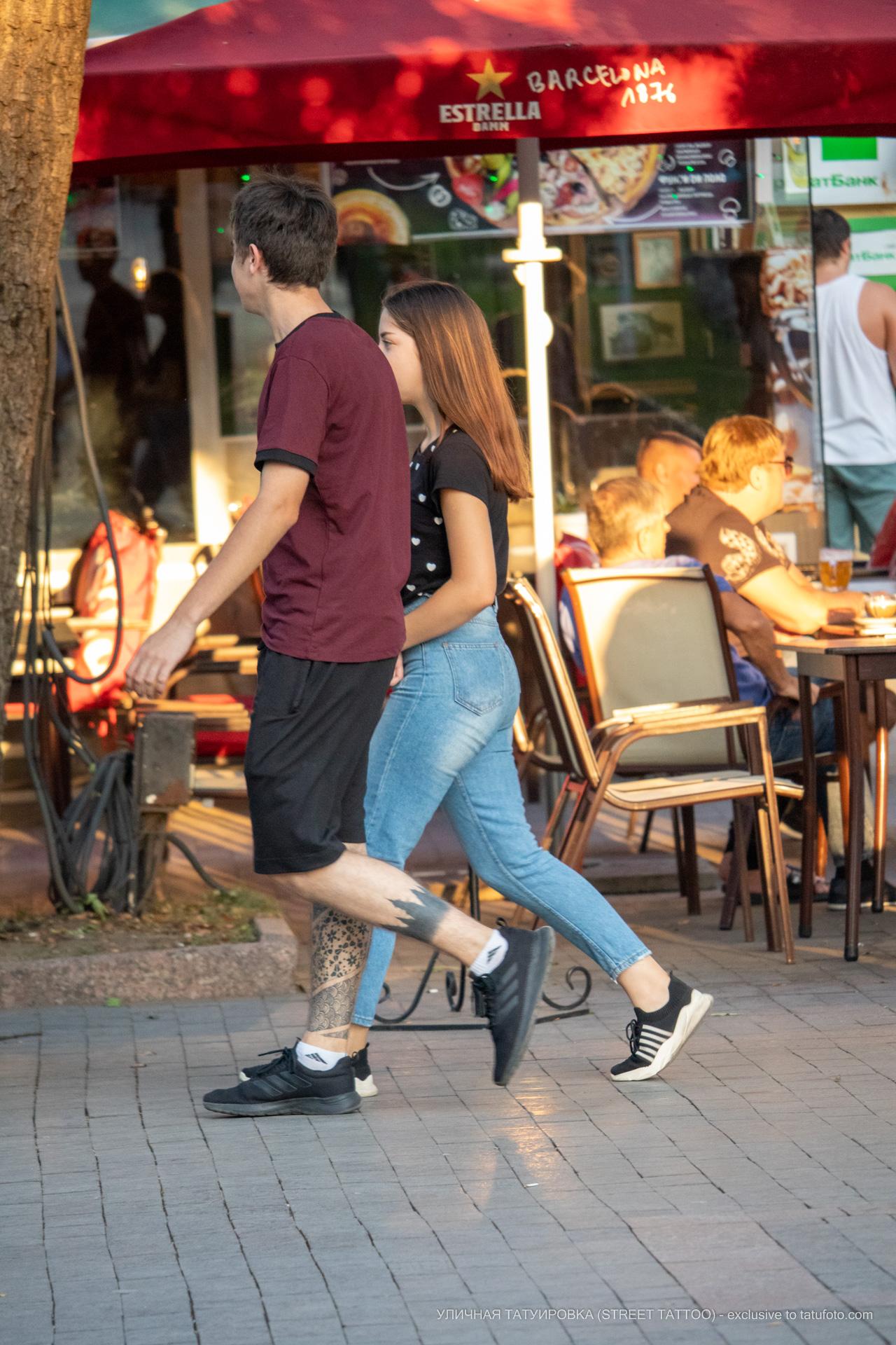 Тату силуэт леса и узоры внизу ноги парня – 17.09.2020 – tatufoto.com 7