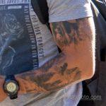 Тату с лесом – горами и птицами в рукаве у парня - Уличная татуировка 14.09.2020 – tatufoto.com 2