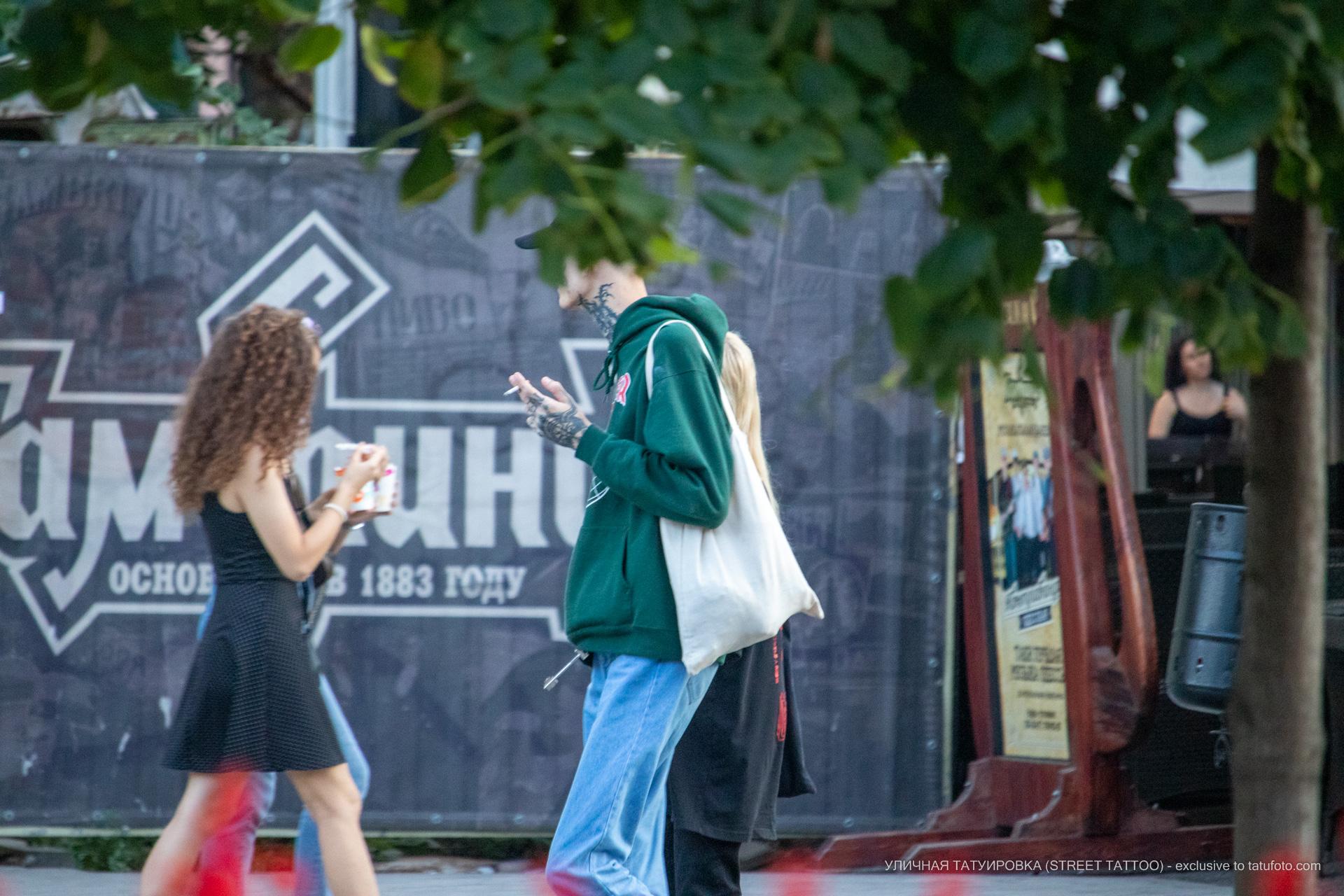 Тату с серпом на лице парня и надпись NESS с мордой дьявола на руке – 17.09.2020 – tatufoto.com 2