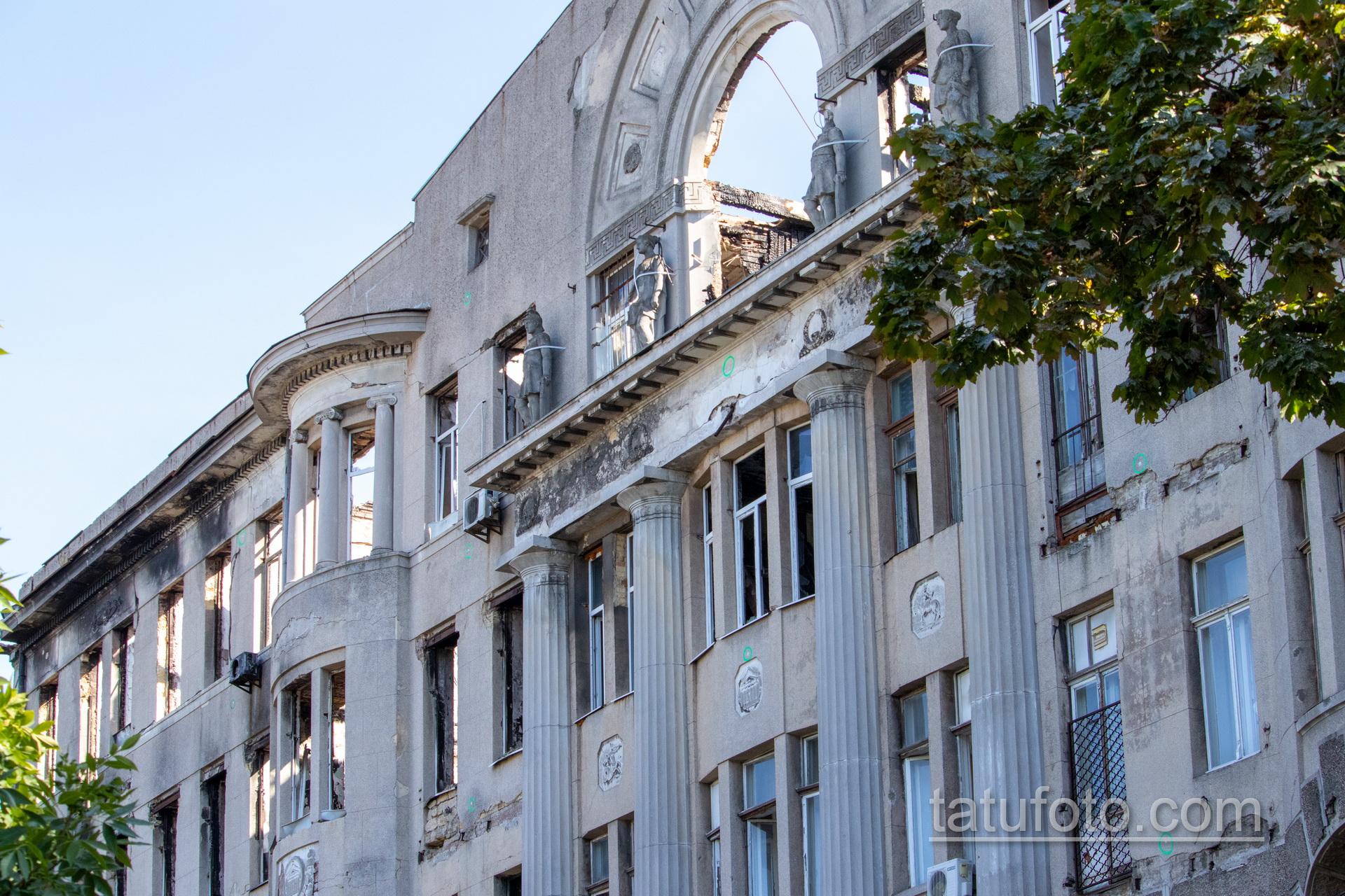 Фото фасада здания которое горело – были погибшие дети студенты - Уличная татуировка 14.09.2020 – tatufoto.com 1