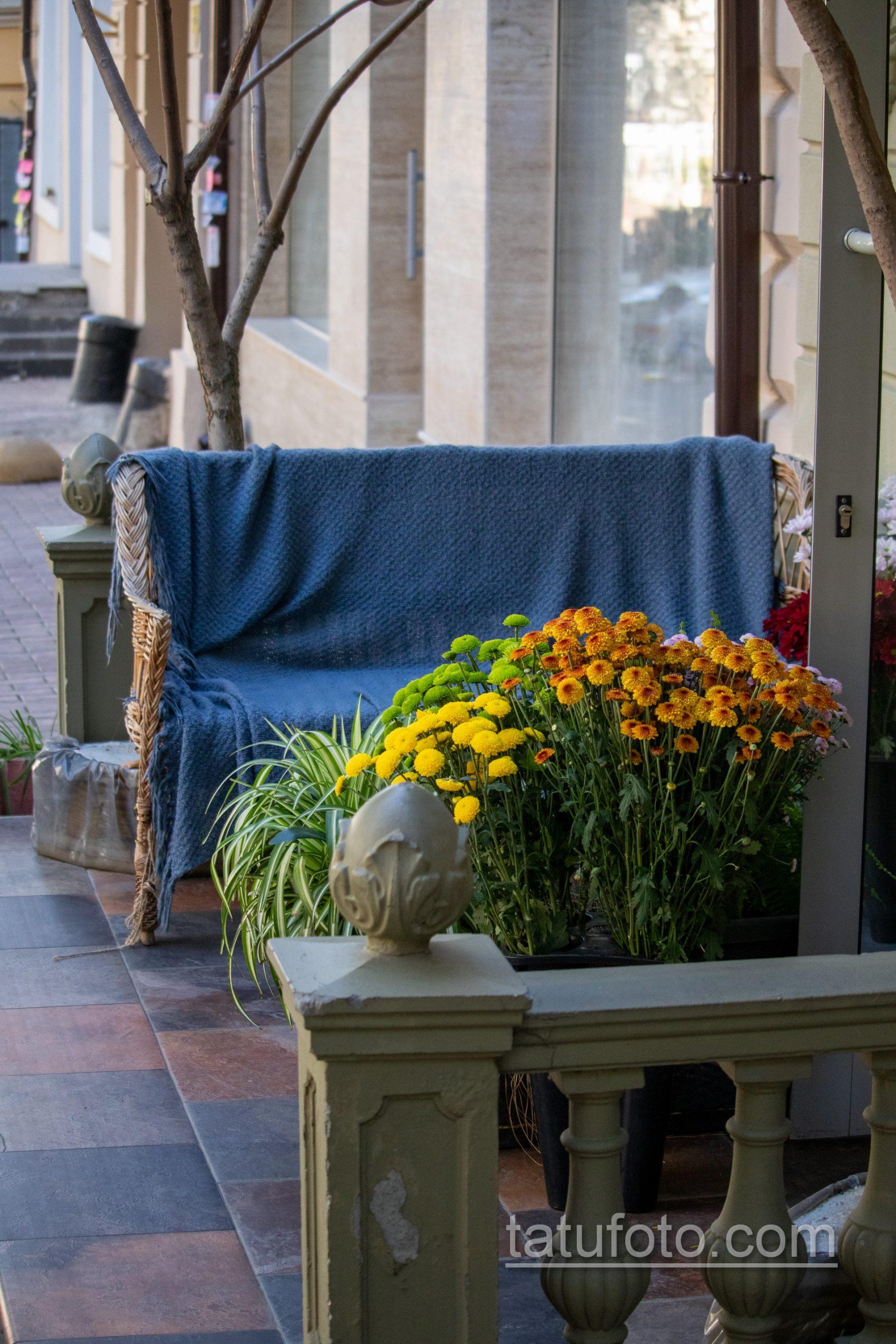 Фото цветов у входа в кафе на улице жуковского - Уличная татуировка 14.09.2020 – tatufoto.com 1