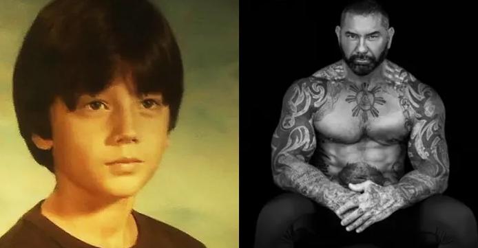 Дейв Батиста (Dave Bautista) – до и после нанесения татуировок - фото
