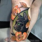 Рисунок татуировки с черной кошкой - фото - tatufoto.com 1