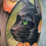 Рисунок татуировки с черной кошкой - фото - tatufoto.com 2