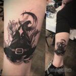 Рисунок татуировки с шляпой ведьмы или колпаком - фото - tatufoto.com 3