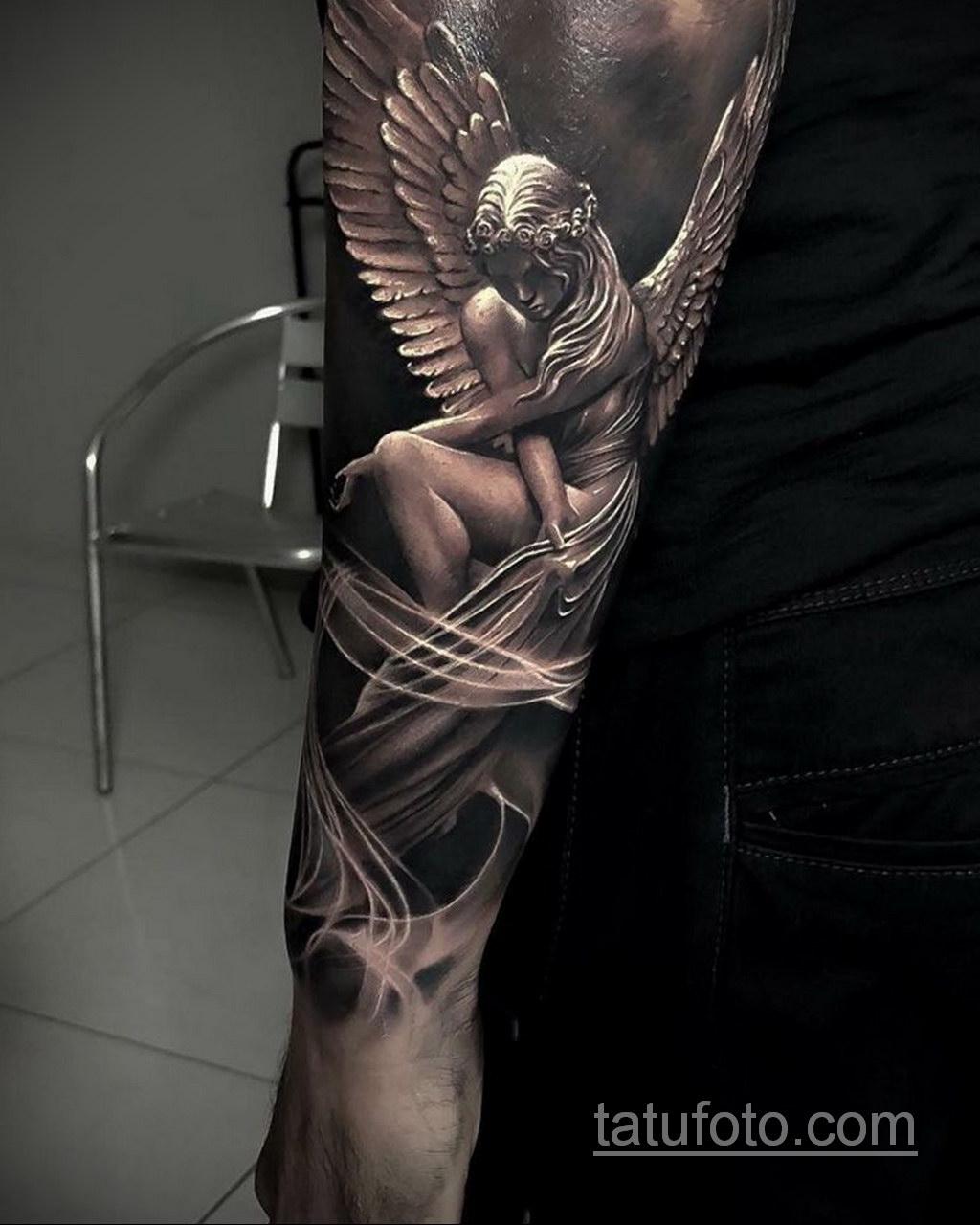 Фото ангел тату на предплечье 25.10.2020 №001 -forearm tattoo- tatufoto.com