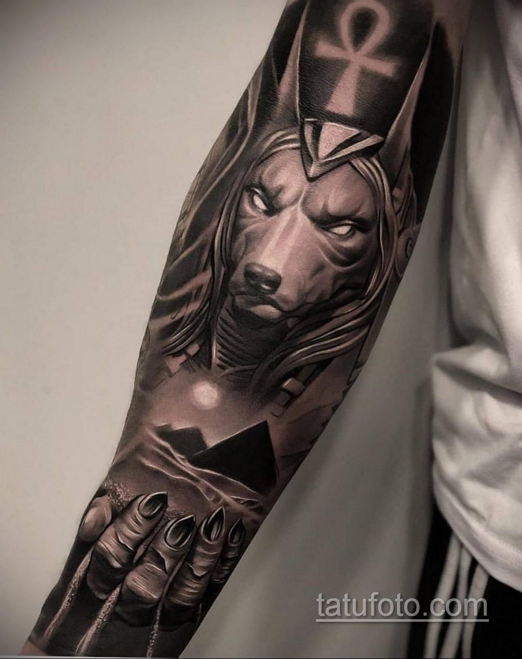 Фото анубис тату на предплечье 25.10.2020 №003 -forearm tattoo- tatufoto.com