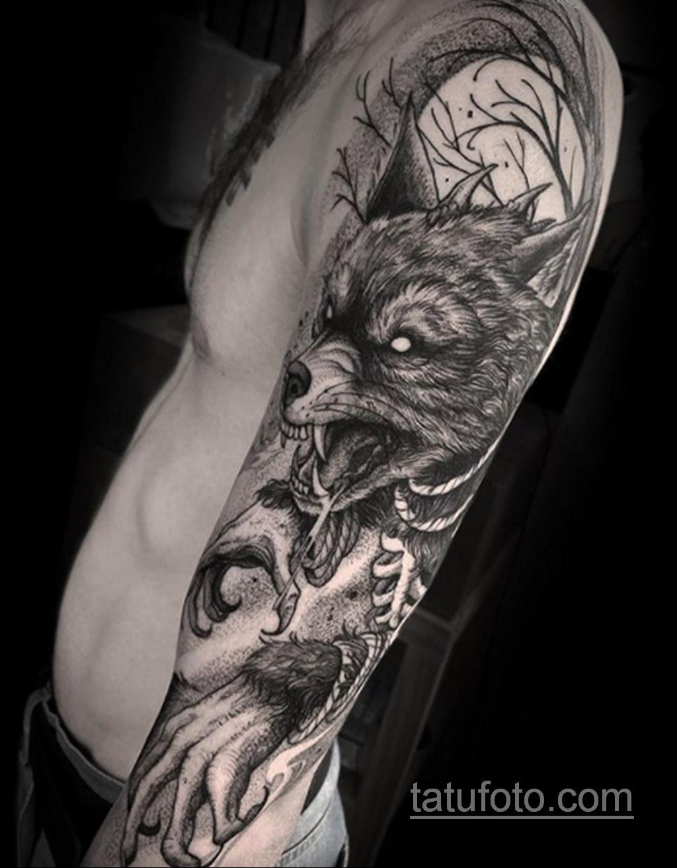 Фото тату с оборотнем 14.10.2020 №003 -werewolf tattoo- tatufoto.com