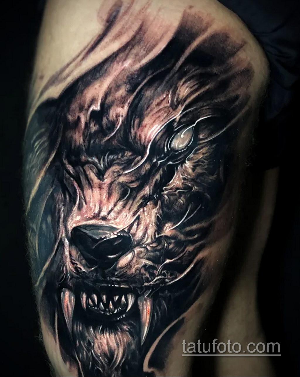 Фото тату с оборотнем 14.10.2020 №019 -werewolf tattoo- tatufoto.com
