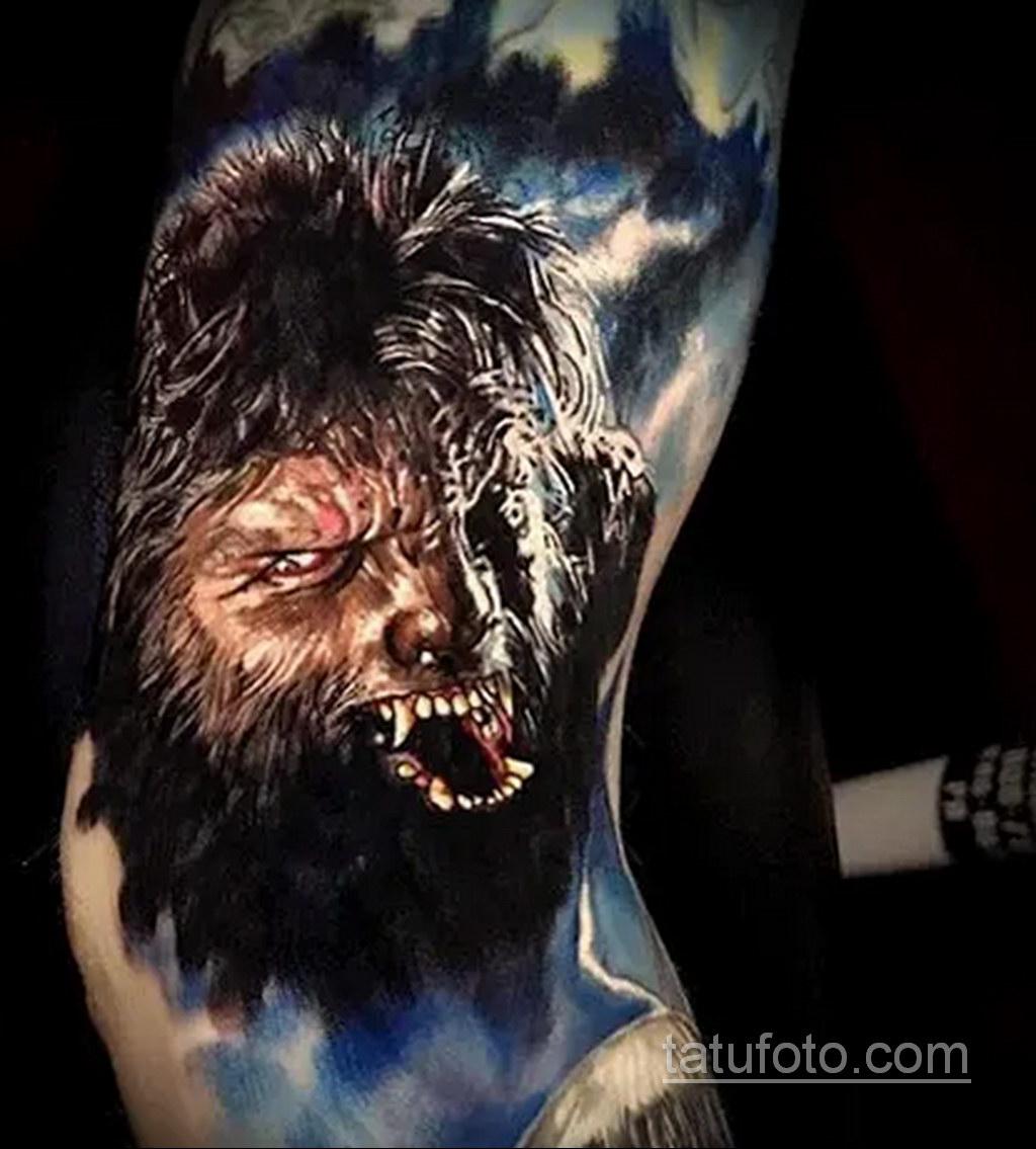 Фото тату с оборотнем 14.10.2020 №020 -werewolf tattoo- tatufoto.com