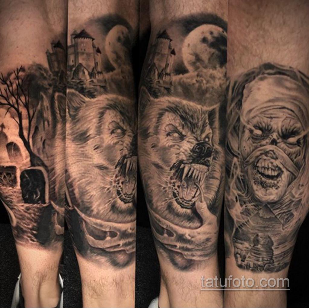 Фото тату с оборотнем 14.10.2020 №024 -werewolf tattoo- tatufoto.com