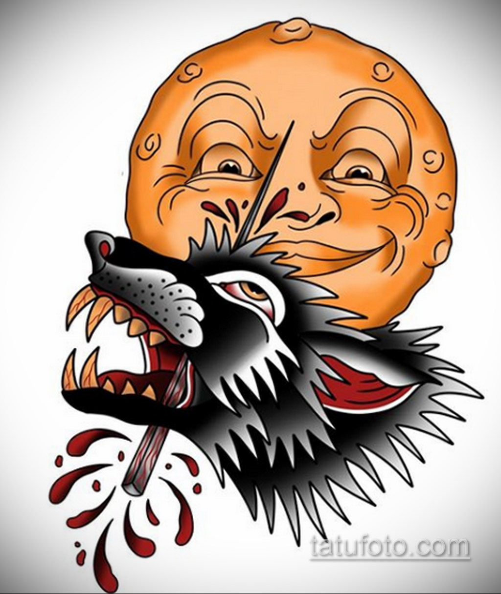 Фото тату с оборотнем 14.10.2020 №039 -werewolf tattoo- tatufoto.com