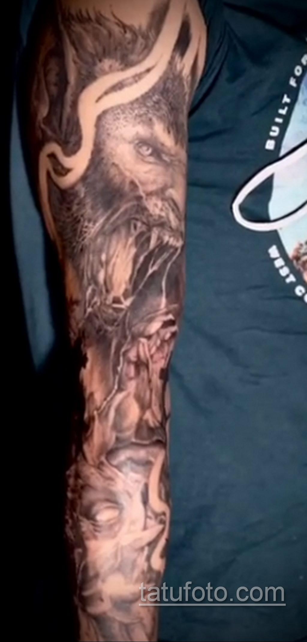Фото тату с оборотнем 14.10.2020 №042 -werewolf tattoo- tatufoto.com
