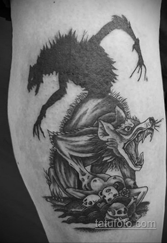 Фото тату с оборотнем 14.10.2020 №046 -werewolf tattoo- tatufoto.com