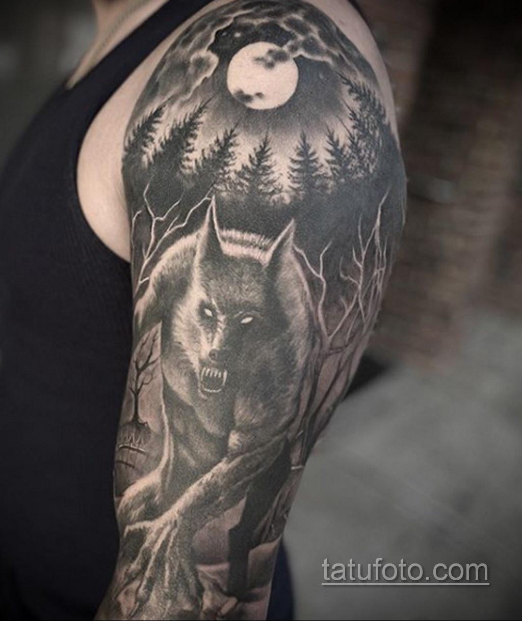 Фото тату с оборотнем 14.10.2020 №053 -werewolf tattoo- tatufoto.com