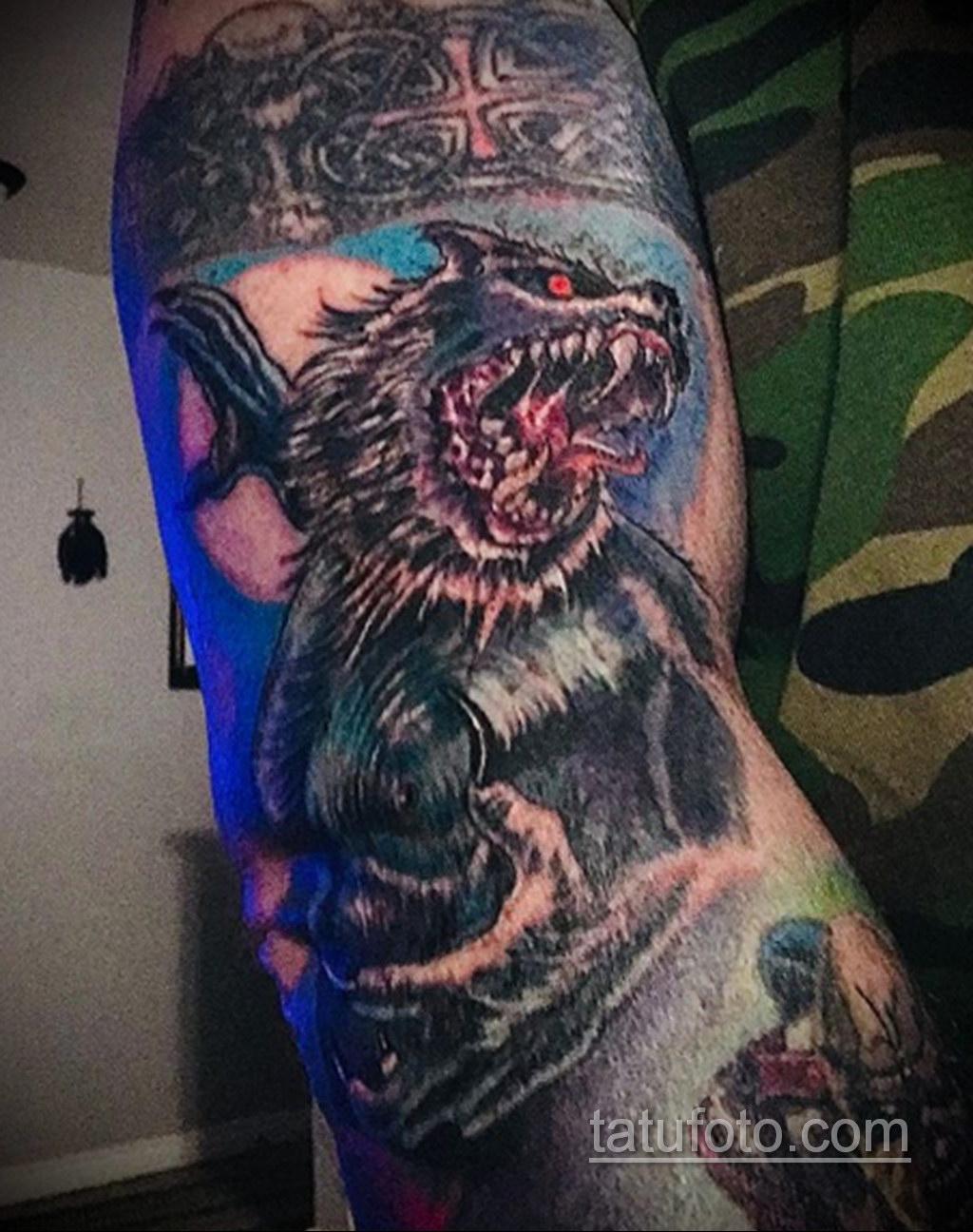 Фото тату с оборотнем 14.10.2020 №055 -werewolf tattoo- tatufoto.com
