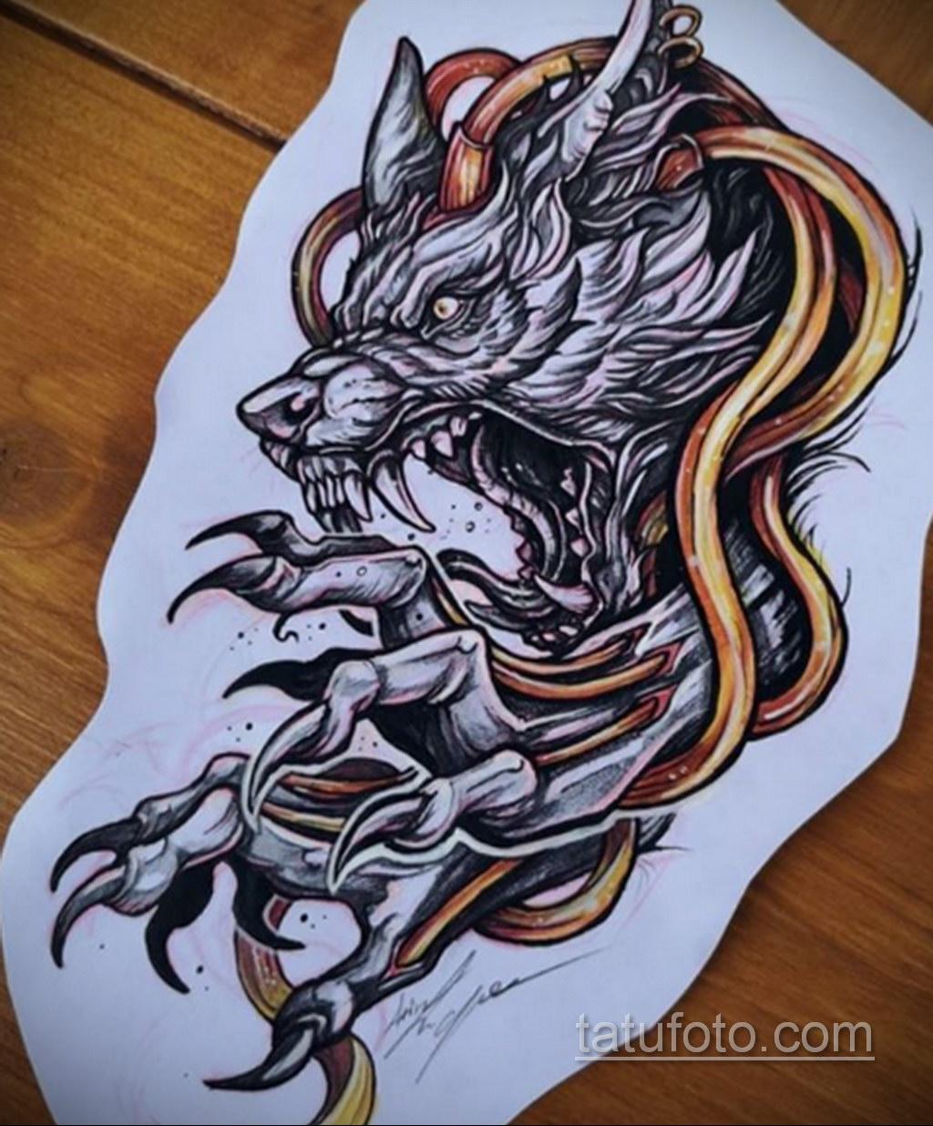 Фото тату с оборотнем 14.10.2020 №056 -werewolf tattoo- tatufoto.com