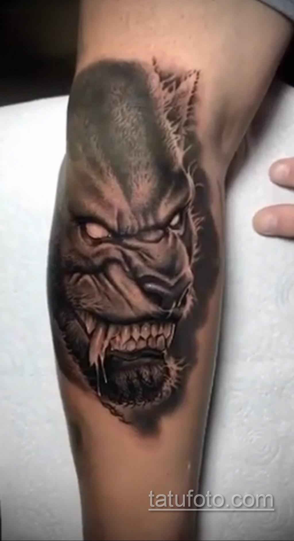 Фото тату с оборотнем 14.10.2020 №058 -werewolf tattoo- tatufoto.com