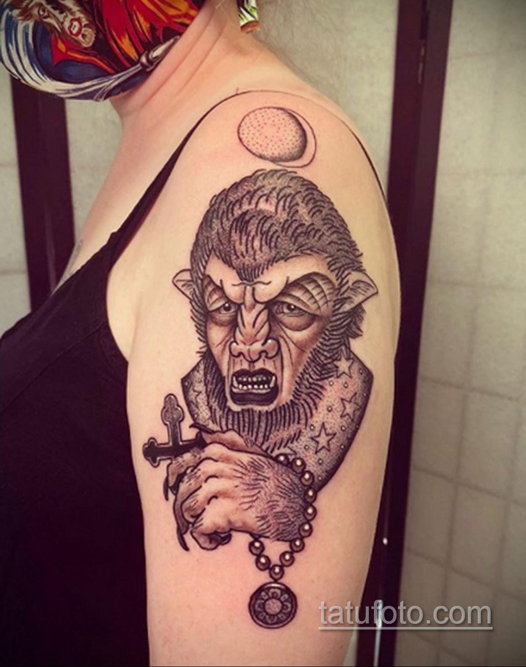 Фото тату с оборотнем 14.10.2020 №071 -werewolf tattoo- tatufoto.com