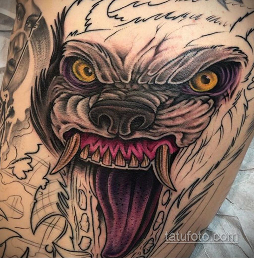 Фото тату с оборотнем 14.10.2020 №079 -werewolf tattoo- tatufoto.com
