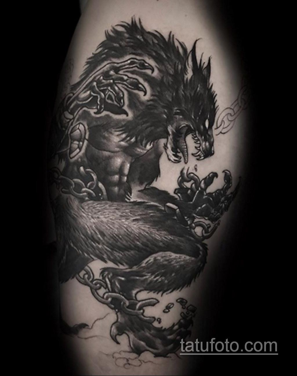 Фото тату с оборотнем 14.10.2020 №085 -werewolf tattoo- tatufoto.com