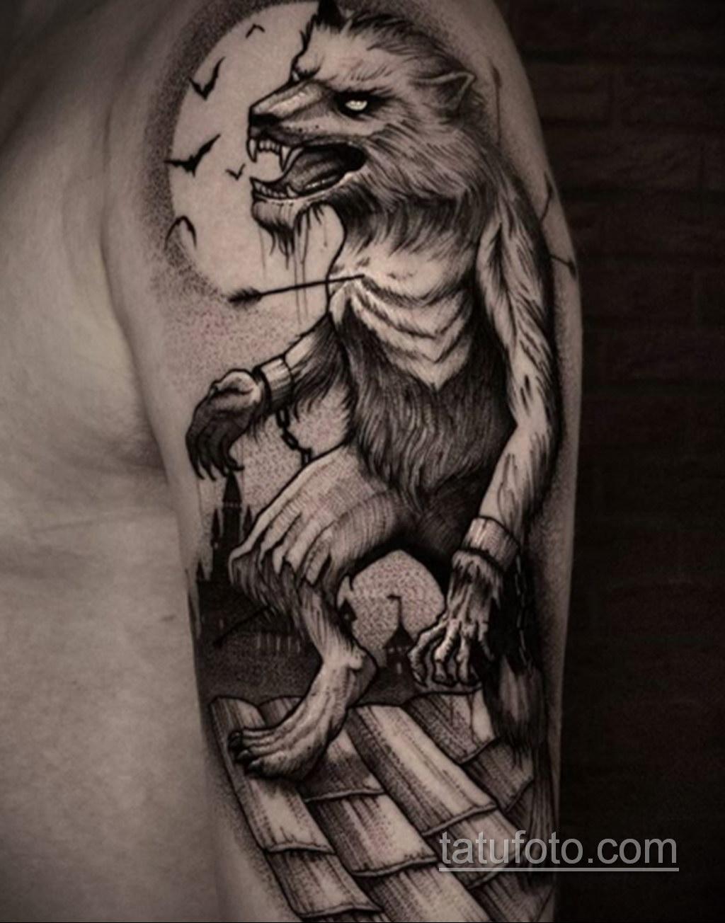 Фото тату с оборотнем 14.10.2020 №097 -werewolf tattoo- tatufoto.com