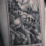 Фото тату с оборотнем 14.10.2020 №099 -werewolf tattoo- tatufoto.com