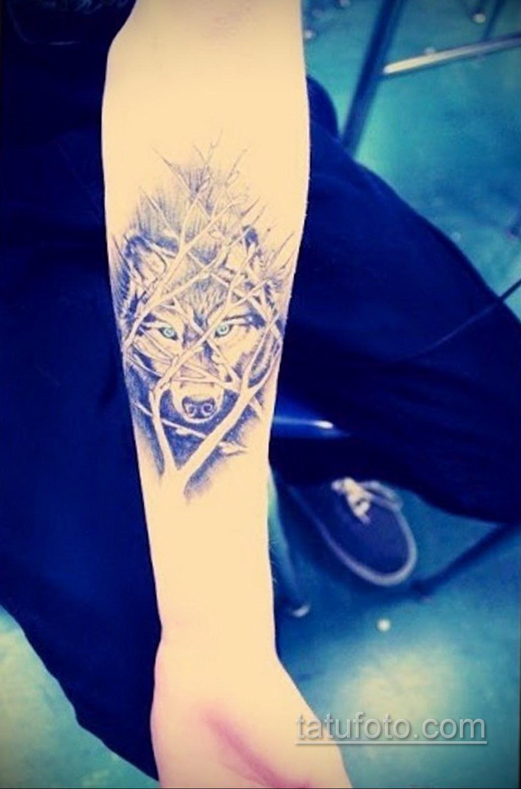волк тату на предплечье 25.10.2020 №037 -forearm tattoo- tatufoto.com