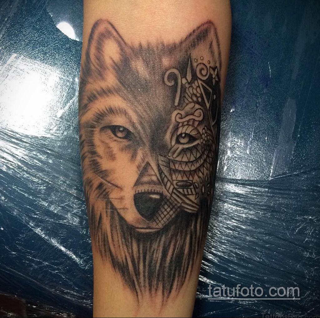 волк тату на предплечье 25.10.2020 №038 -forearm tattoo- tatufoto.com