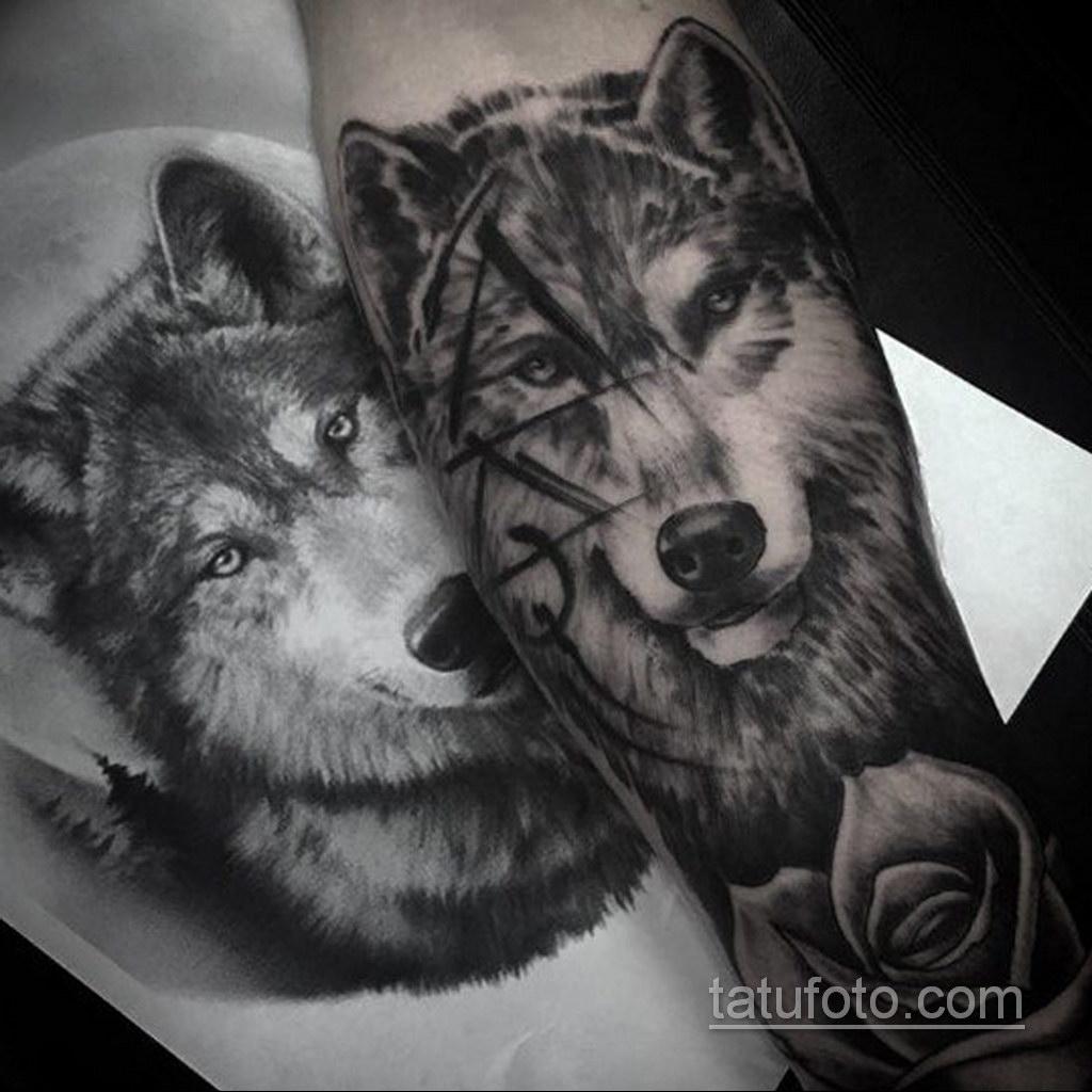 волк тату на предплечье 25.10.2020 №040 -forearm tattoo- tatufoto.com