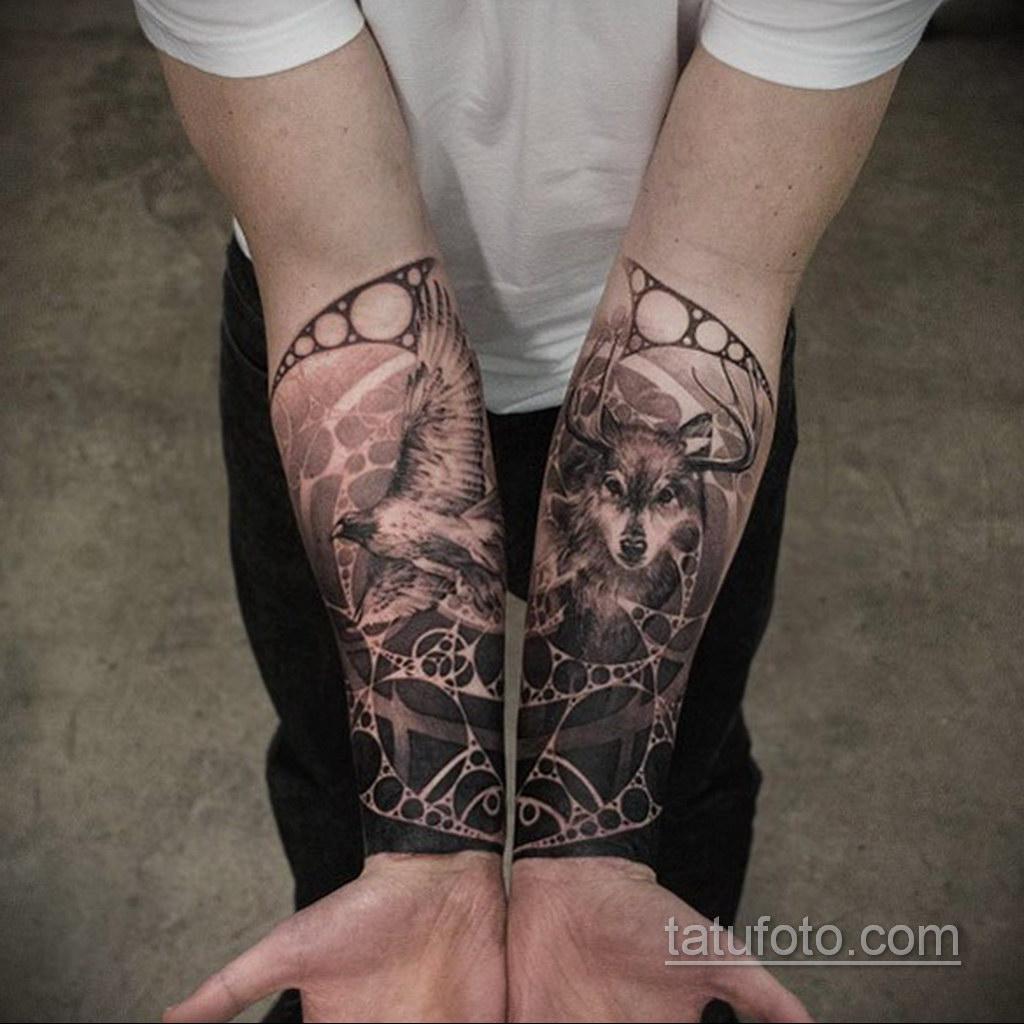 волк тату на предплечье 25.10.2020 №042 -forearm tattoo- tatufoto.com