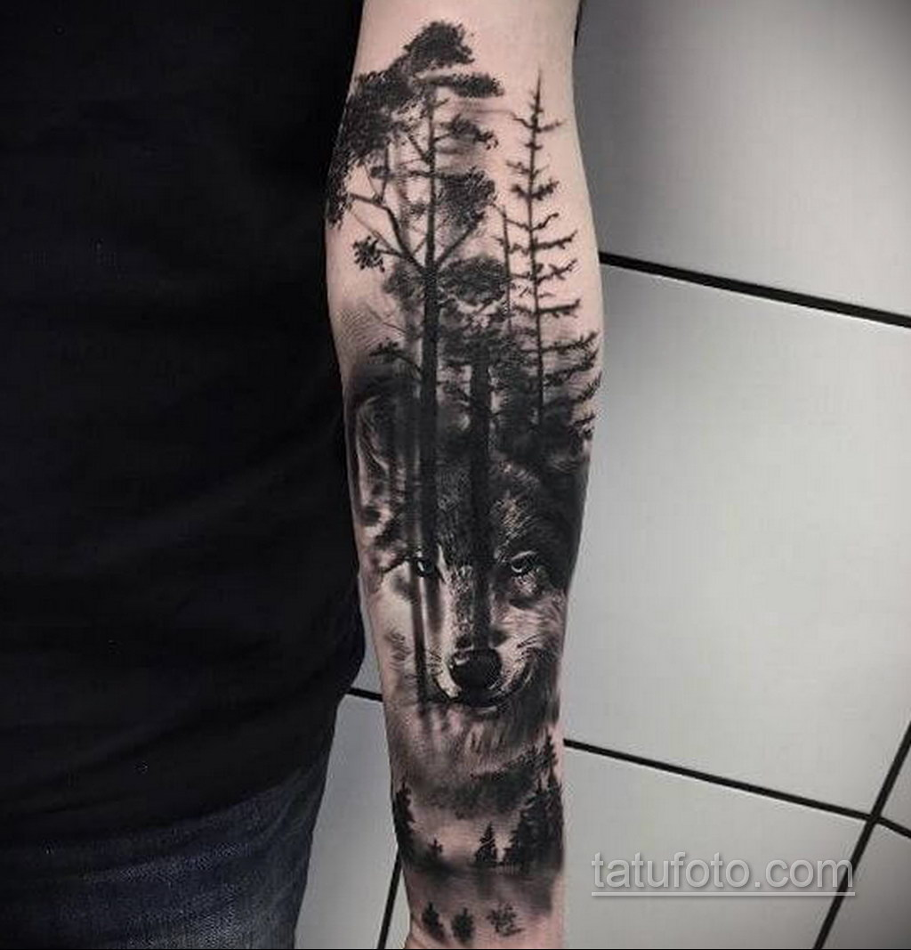 волк тату на предплечье 25.10.2020 №046 -forearm tattoo- tatufoto.com