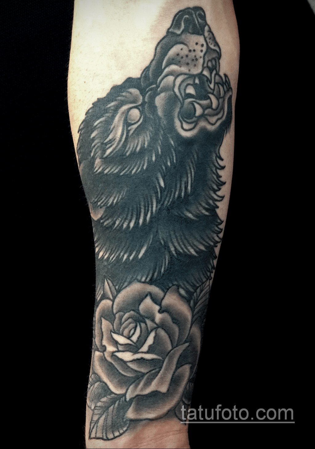 волк тату на предплечье 25.10.2020 №056 -forearm tattoo- tatufoto.com