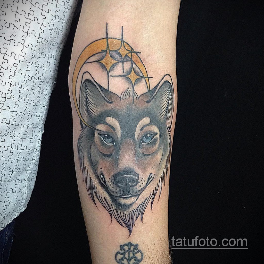волк тату на предплечье 25.10.2020 №062 -forearm tattoo- tatufoto.com