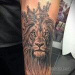 татуировка льва на предплечье 25.10.2020 №024 -forearm tattoo- tatufoto.com