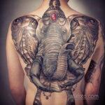 Рисунок тату слон на спине 30.11.2020 №006 -elephant tattoo on back- tatufoto.com