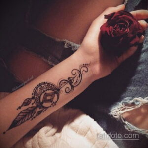 Рисунок тату хной для девушки 28.11.2020 №002 -henna tattoo for girl- tatufoto.com